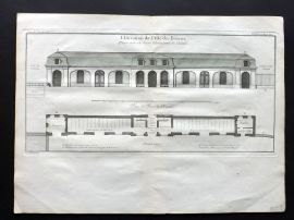 Blondel 1737 Folio Architecture Print. L'Elevation de l'Aisle des Ecuries